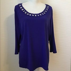 NWT East 5th Women's Blue Blouse Embellished Neck